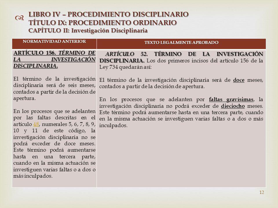   NORMATIVIDAD ANTERIOR TEXTO LEGALMENTE APROBADO ARTÍCULO 156.