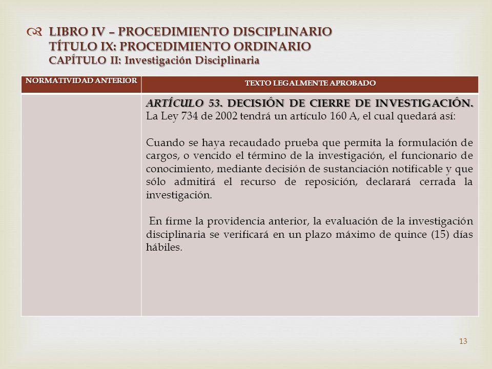   NORMATIVIDAD ANTERIOR TEXTO LEGALMENTE APROBADO ARTÍCULO 53.