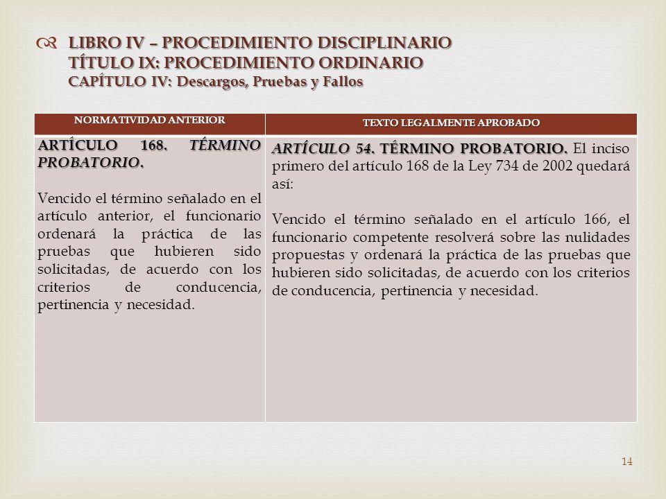   NORMATIVIDAD ANTERIOR TEXTO LEGALMENTE APROBADO ARTÍCULO 168.