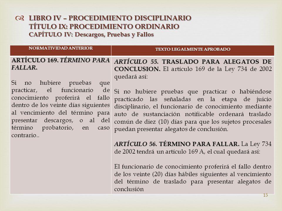   NORMATIVIDAD ANTERIOR TEXTO LEGALMENTE APROBADO ARTÍCULO 169.