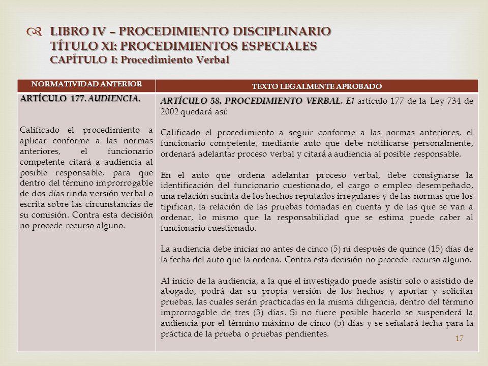   NORMATIVIDAD ANTERIOR TEXTO LEGALMENTE APROBADO ARTÍCULO 177.