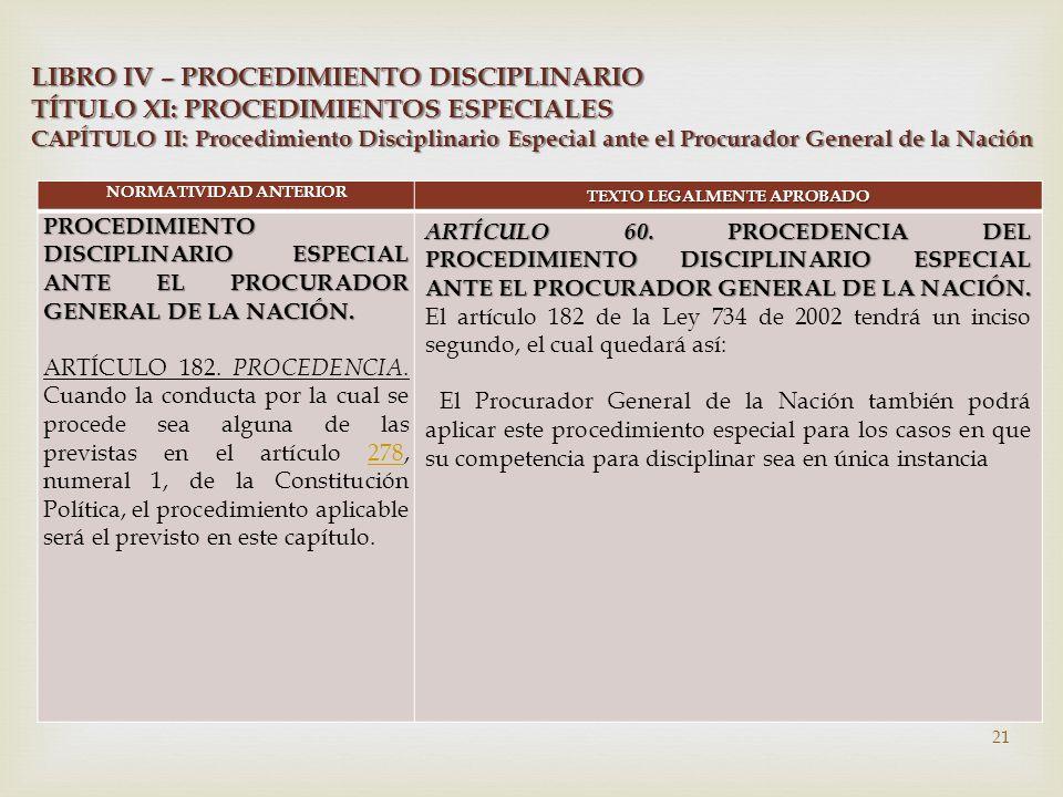  NORMATIVIDAD ANTERIOR TEXTO LEGALMENTE APROBADO PROCEDIMIENTO DISCIPLINARIO ESPECIAL ANTE EL PROCURADOR GENERAL DE LA NACIÓN.
