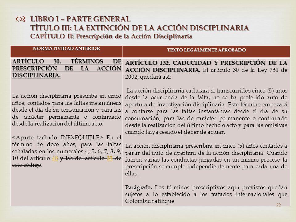   NORMATIVIDAD ANTERIOR TEXTO LEGALMENTE APROBADO ARTÍCULO 30.