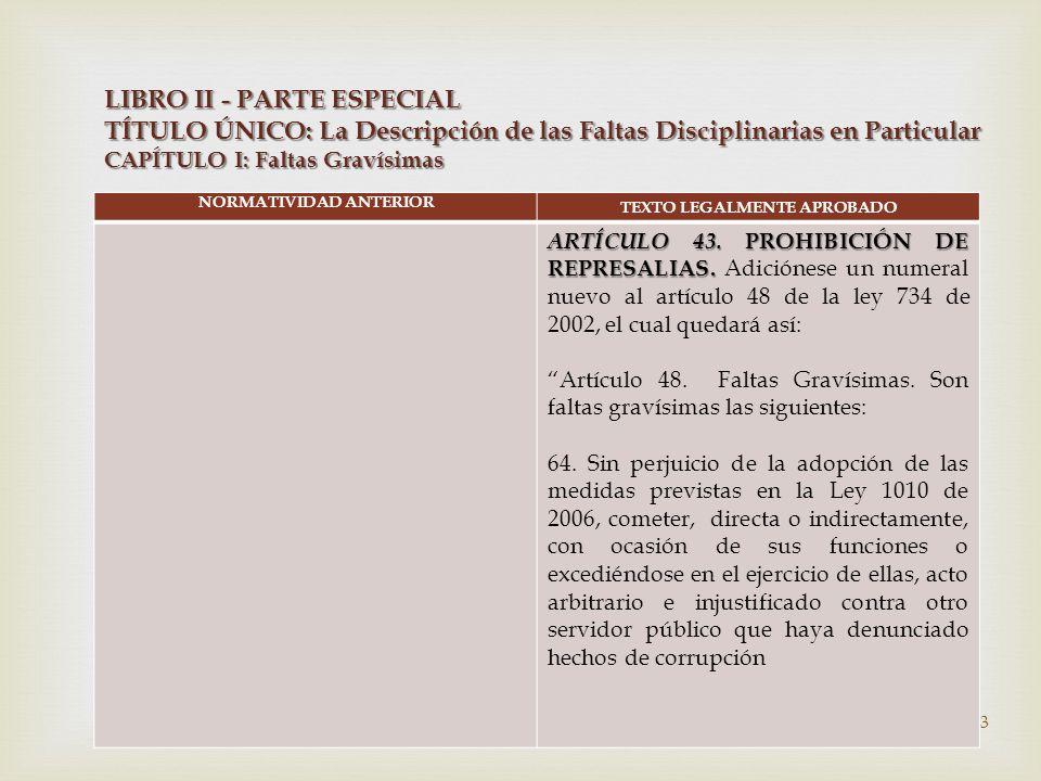  NORMATIVIDAD ANTERIOR TEXTO LEGALMENTE APROBADO ARTÍCULO 43.