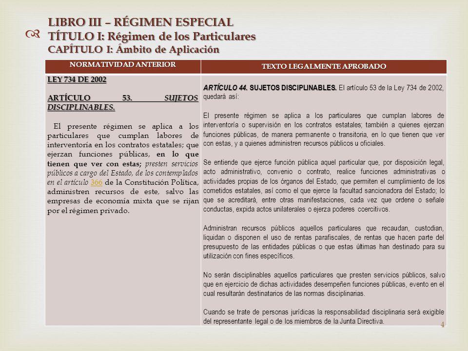   NORMATIVIDAD ANTERIOR TEXTO LEGALMENTE APROBADO LEY 734 DE 2002 ARTÍCULO 53.