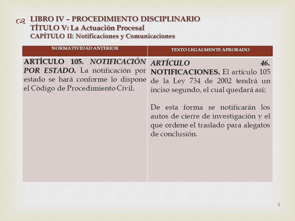   NORMATIVIDAD ANTERIOR TEXTO LEGALMENTE APROBADO ARTÍCULO 105.