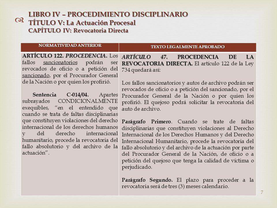   NORMATIVIDAD ANTERIOR TEXTO LEGALMENTE APROBADO ARTÍCULO 122.