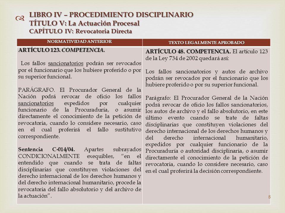  NORMATIVIDAD ANTERIOR TEXTO LEGALMENTE APROBADO ARTÍCULO 123.