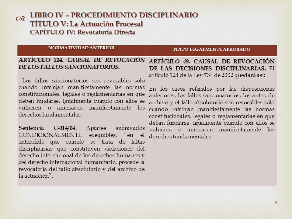   NORMATIVIDAD ANTERIOR TEXTO LEGALMENTE APROBADO ARTÍCULO 124.