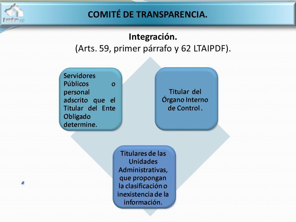 COMITÉ DE TRANSPARENCIA. Integración. (Arts. 59, primer párrafo y 62 LTAIPDF).