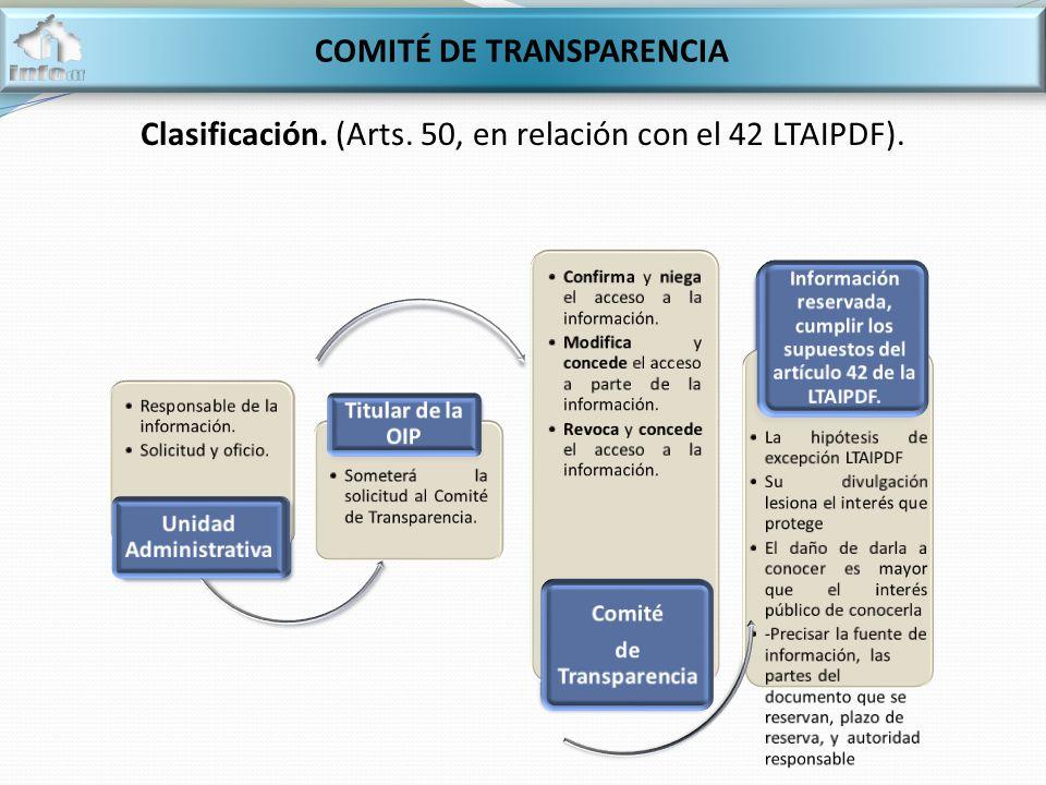COMITÉ DE TRANSPARENCIA Clasificación. (Arts. 50, en relación con el 42 LTAIPDF).