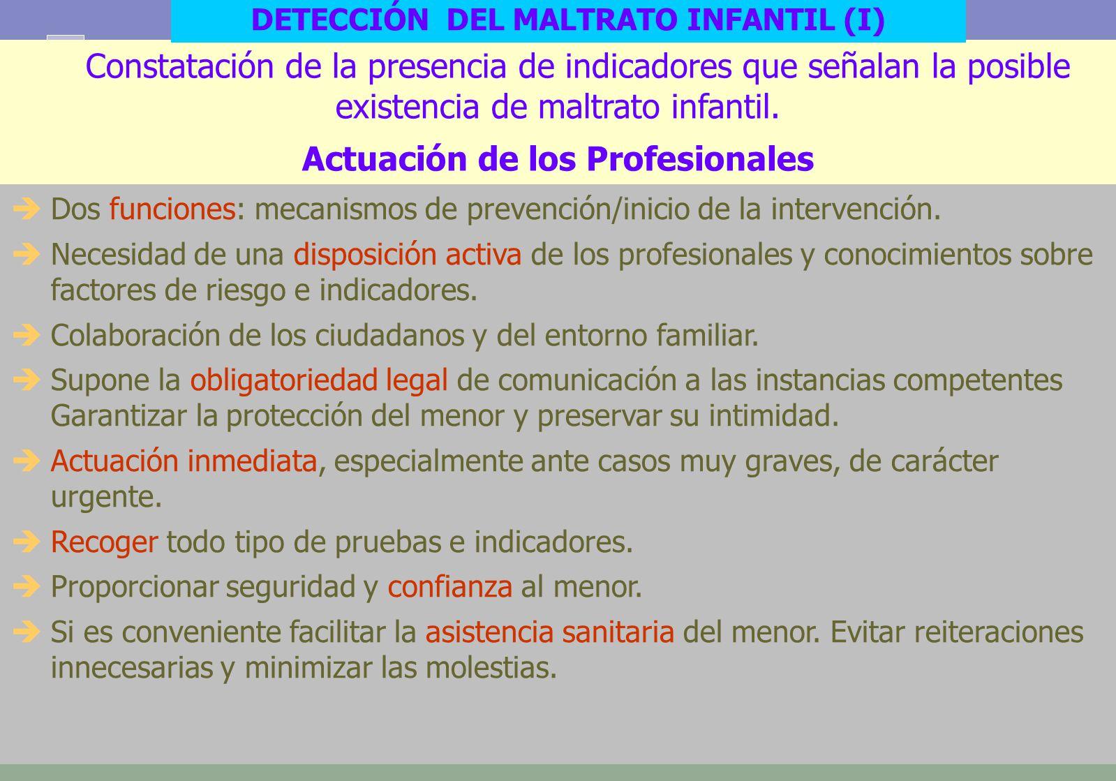 12 Constatación de la presencia de indicadores que señalan la posible existencia de maltrato infantil.