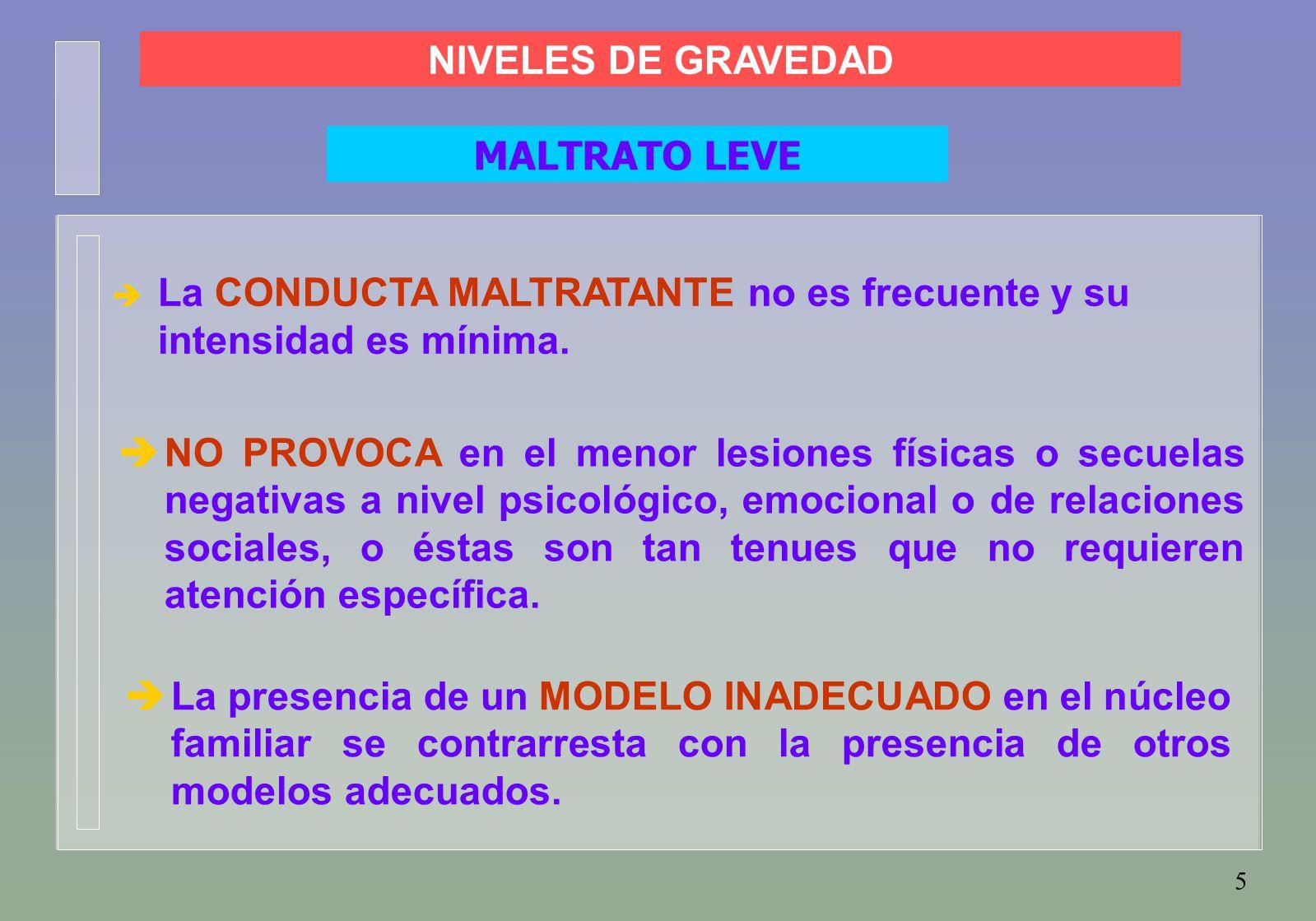 5  La CONDUCTA MALTRATANTE no es frecuente y su intensidad es mínima.