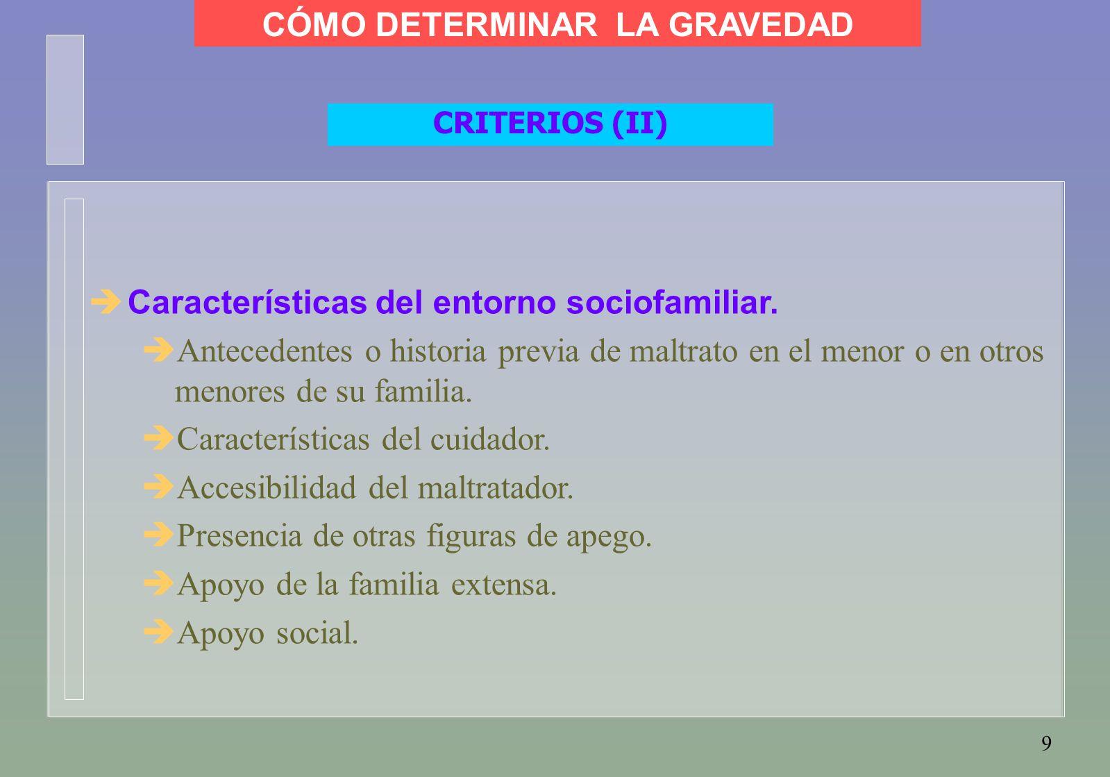 9 CRITERIOS (II)  Características del entorno sociofamiliar.