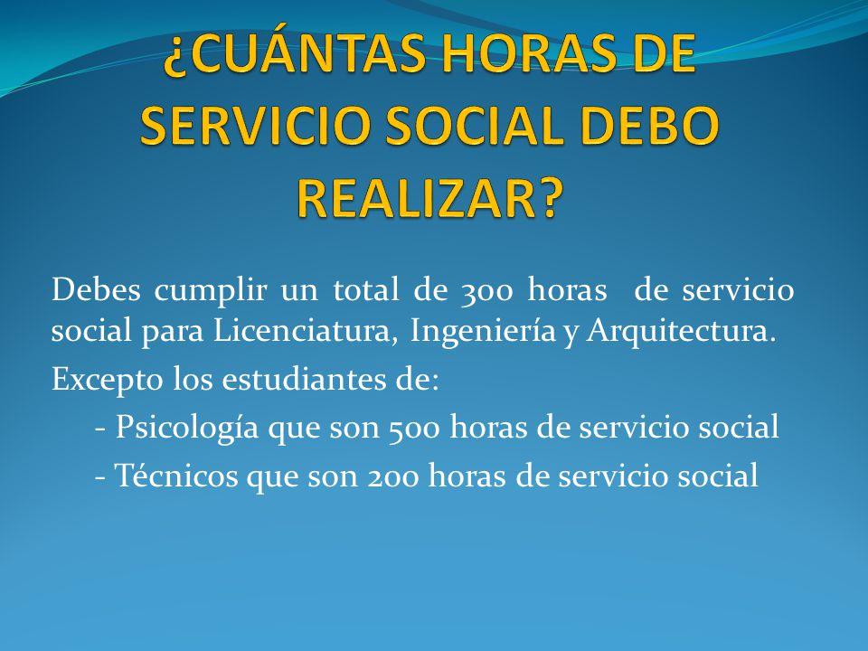 Debes cumplir un total de 300 horas de servicio social para Licenciatura, Ingeniería y Arquitectura.