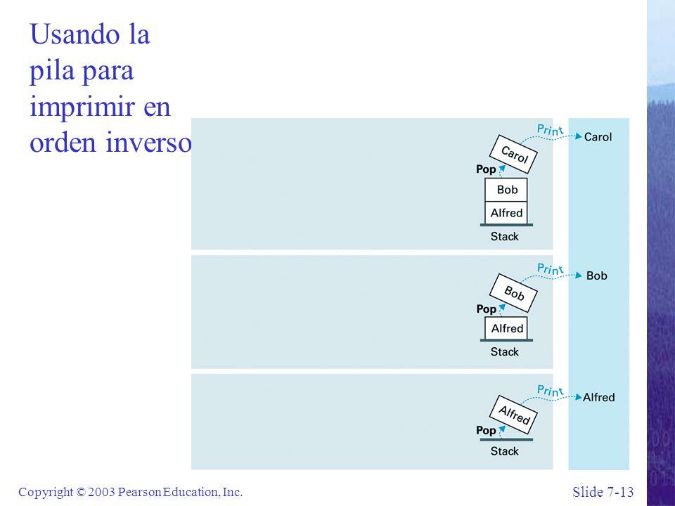 Slide 7-13 Copyright © 2003 Pearson Education, Inc. Usando la pila para imprimir en orden inverso