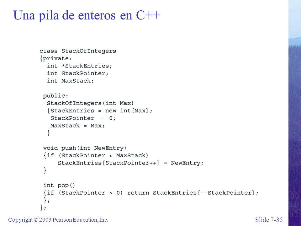 Slide 7-35 Copyright © 2003 Pearson Education, Inc. Una pila de enteros en C++