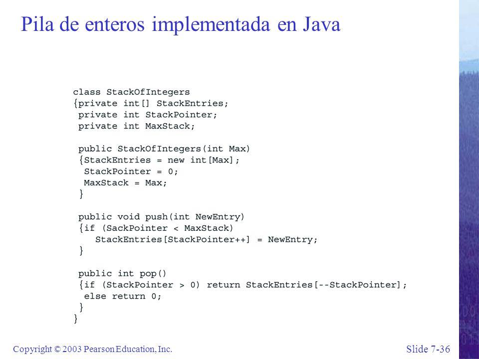 Slide 7-36 Copyright © 2003 Pearson Education, Inc. Pila de enteros implementada en Java