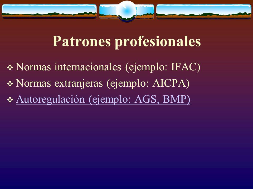 Patrones profesionales  Normas internacionales (ejemplo: IFAC)  Normas extranjeras (ejemplo: AICPA)  Autoregulación (ejemplo: AGS, BMP) Autoregulación (ejemplo: AGS, BMP)