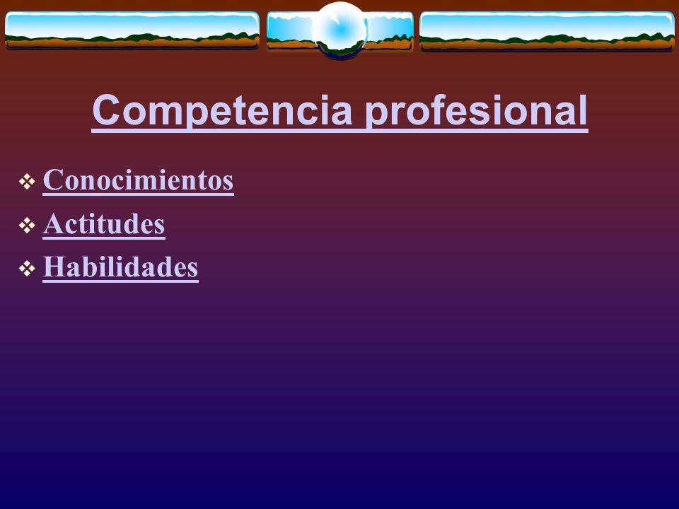 Competencia profesional  Conocimientos Conocimientos  Actitudes Actitudes  Habilidades Habilidades