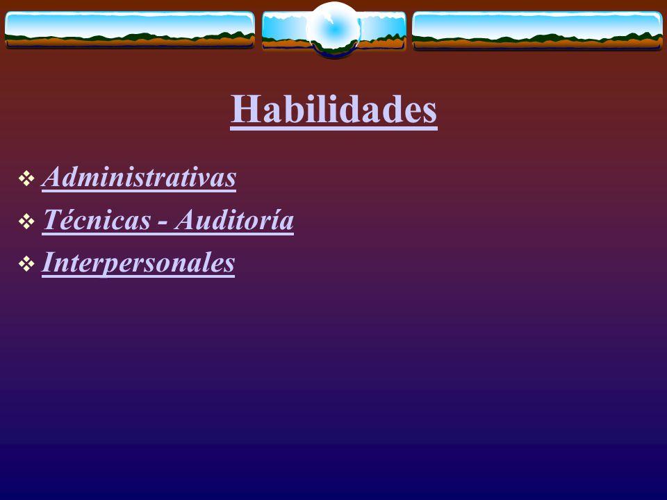 Habilidades  Administrativas Administrativas  Técnicas - Auditoría Técnicas - Auditoría  Interpersonales Interpersonales