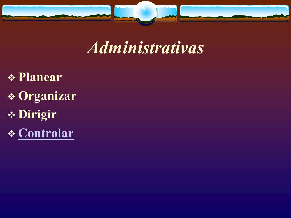 Administrativas  Planear  Organizar  Dirigir  Controlar Controlar