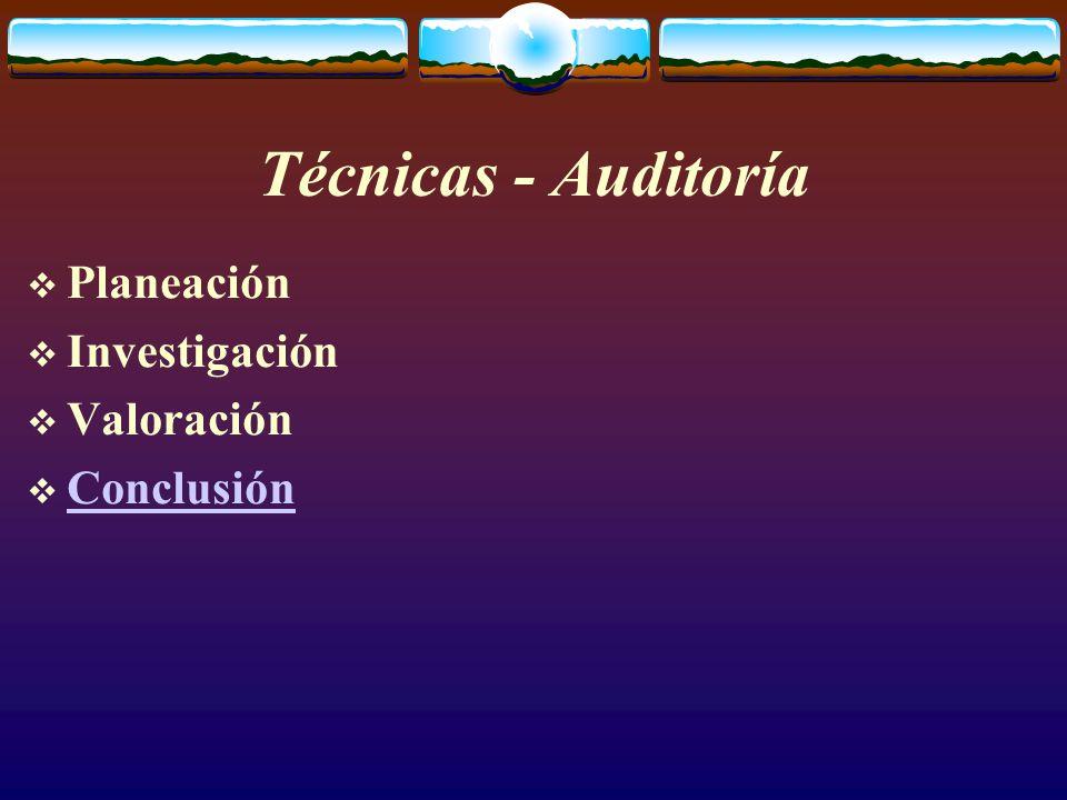 Técnicas - Auditoría  Planeación  Investigación  Valoración  Conclusión Conclusión