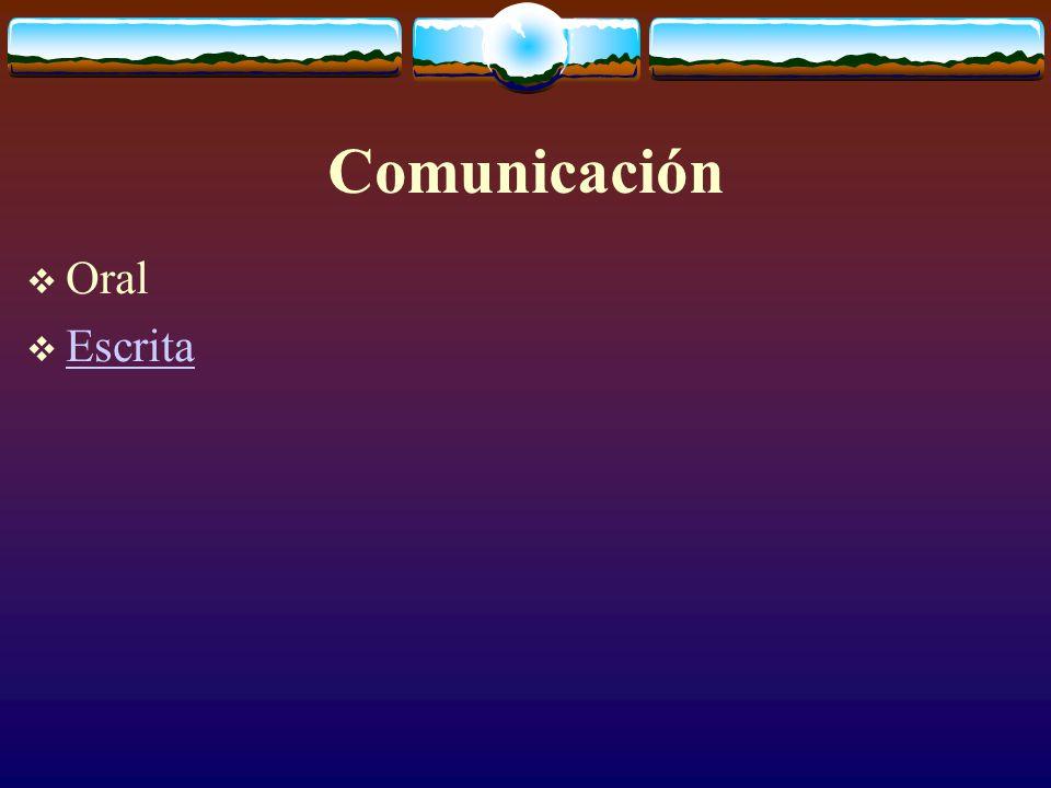 Comunicación  Oral  Escrita Escrita