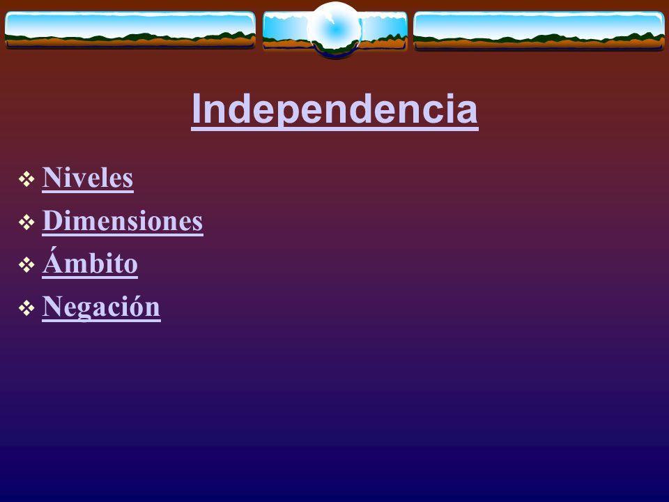Independencia  Niveles Niveles  Dimensiones Dimensiones  Ámbito Ámbito  Negación Negación