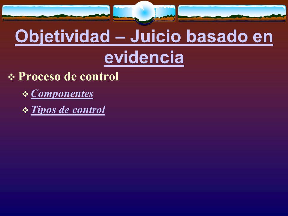 Objetividad – Juicio basado en evidencia  Proceso de control  Componentes Componentes  Tipos de control Tipos de control