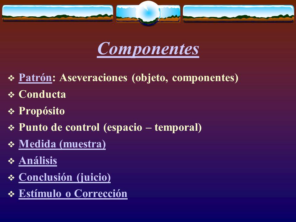 Componentes  Patrón: Aseveraciones (objeto, componentes) Patrón  Conducta  Propósito  Punto de control (espacio – temporal)  Medida (muestra) Medida (muestra)  Análisis Análisis  Conclusión (juicio) Conclusión (juicio)  Estímulo o Corrección Estímulo o Corrección