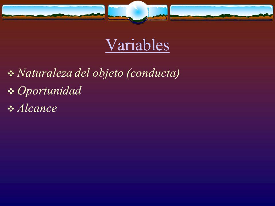 Variables  Naturaleza del objeto (conducta)  Oportunidad  Alcance