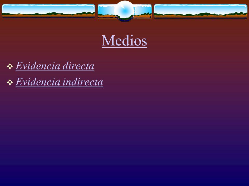 Medios  Evidencia directa Evidencia directa  Evidencia indirecta Evidencia indirecta