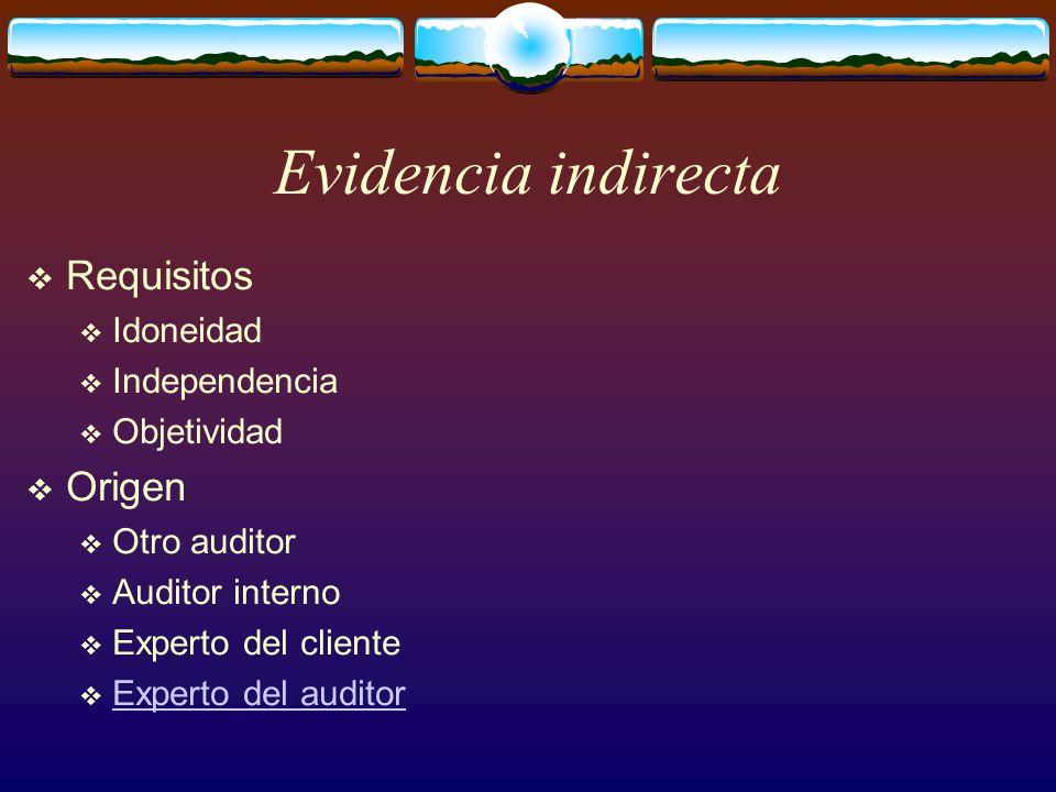Evidencia indirecta  Requisitos  Idoneidad  Independencia  Objetividad  Origen  Otro auditor  Auditor interno  Experto del cliente  Experto del auditor Experto del auditor