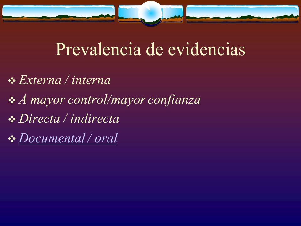 Prevalencia de evidencias  Externa / interna  A mayor control/mayor confianza  Directa / indirecta  Documental / oral Documental / oral