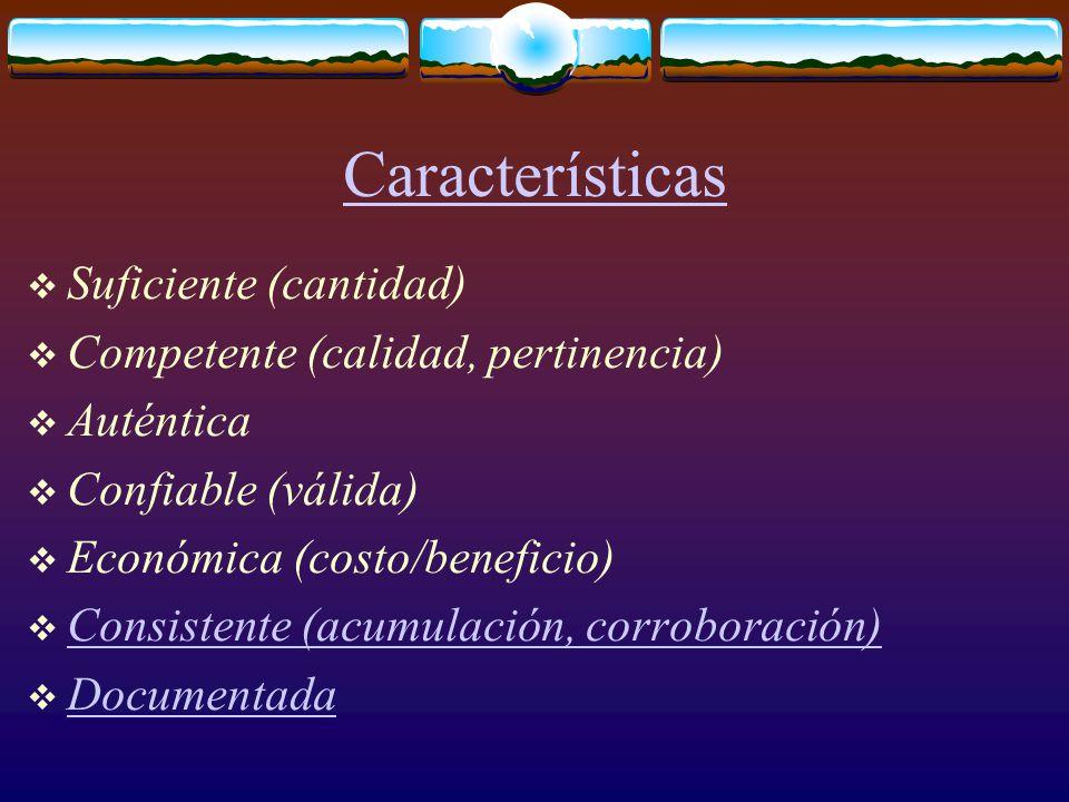 Características  Suficiente (cantidad)  Competente (calidad, pertinencia)  Auténtica  Confiable (válida)  Económica (costo/beneficio)  Consistente (acumulación, corroboración) Consistente (acumulación, corroboración)  Documentada Documentada