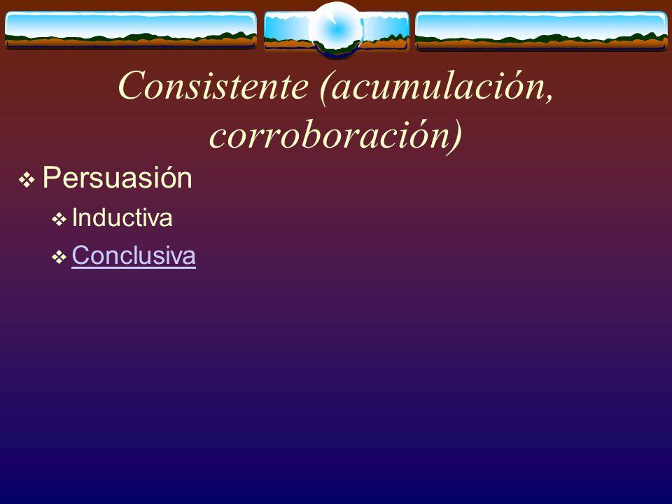 Consistente (acumulación, corroboración)  Persuasión  Inductiva  Conclusiva Conclusiva