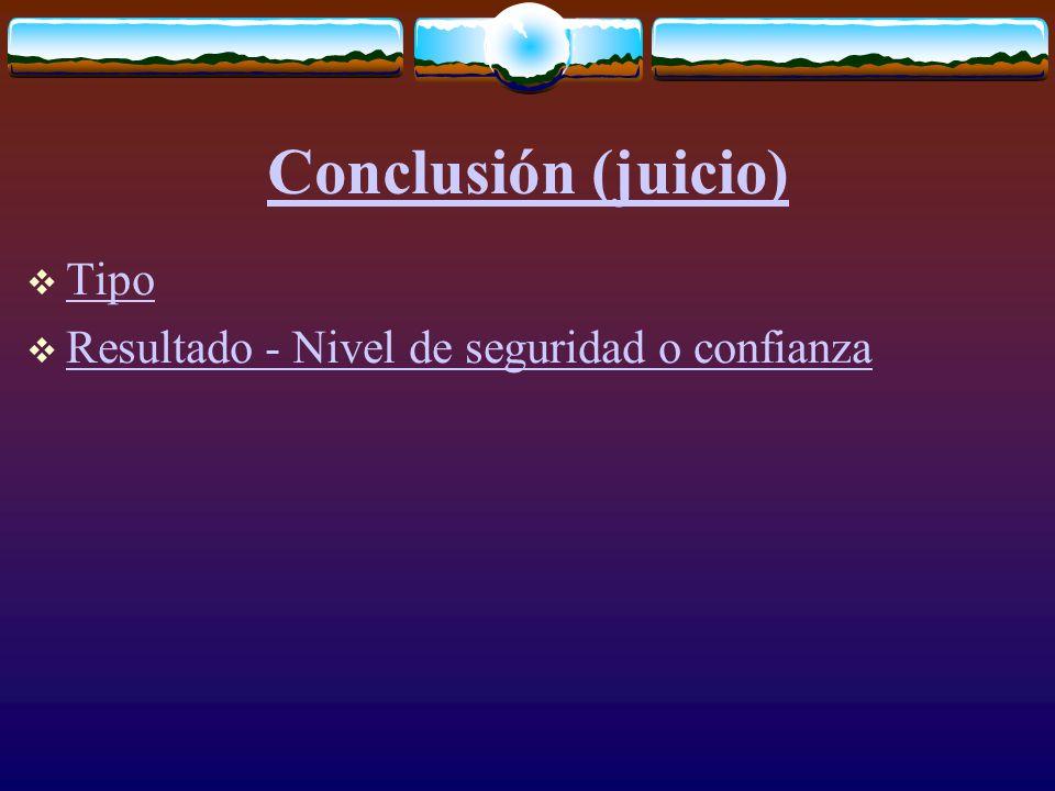 Conclusión (juicio)  Tipo Tipo  Resultado - Nivel de seguridad o confianza Resultado - Nivel de seguridad o confianza