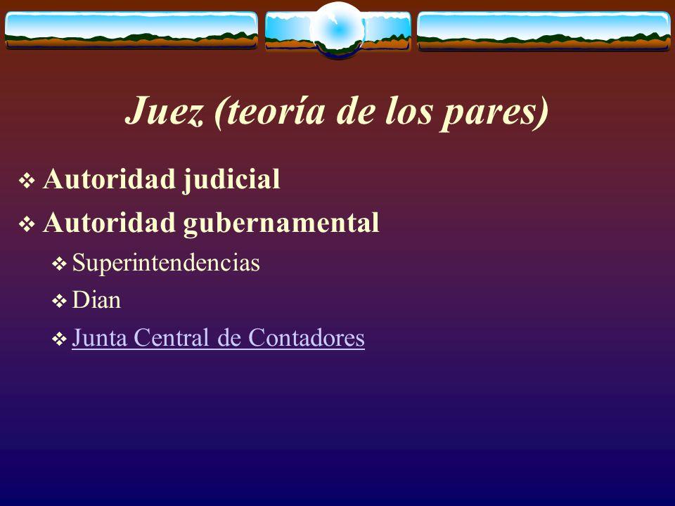 Juez (teoría de los pares)  Autoridad judicial  Autoridad gubernamental  Superintendencias  Dian  Junta Central de Contadores Junta Central de Contadores