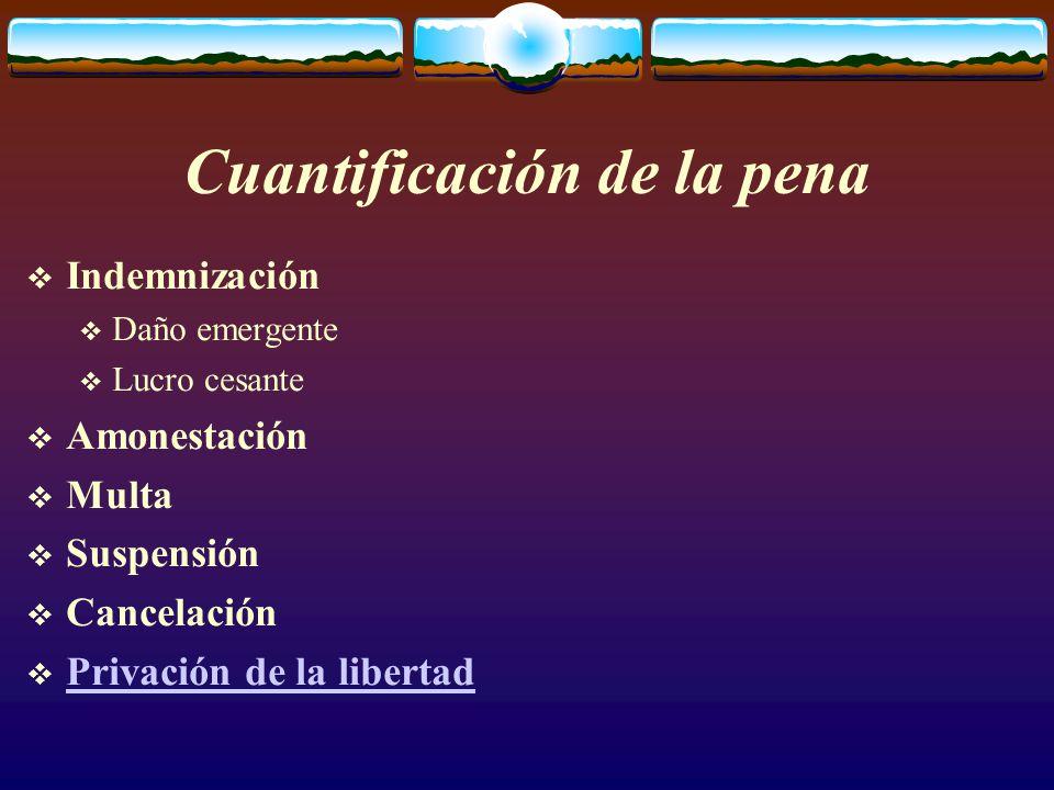 Cuantificación de la pena  Indemnización  Daño emergente  Lucro cesante  Amonestación  Multa  Suspensión  Cancelación  Privación de la libertad Privación de la libertad