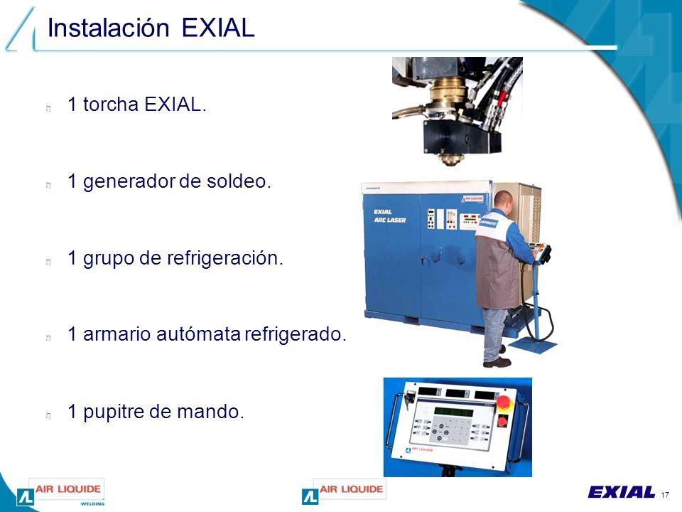 17 Instalación EXIAL n 1 torcha EXIAL. n 1 generador de soldeo.