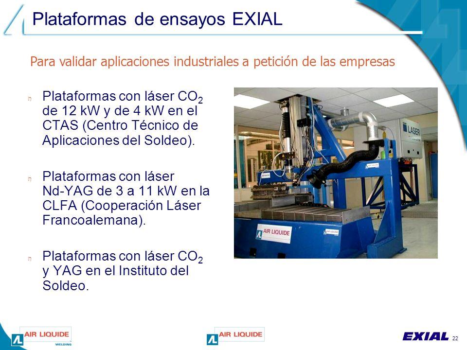 22 Plataformas de ensayos EXIAL n Plataformas con láser CO 2 de 12 kW y de 4 kW en el CTAS (Centro Técnico de Aplicaciones del Soldeo).
