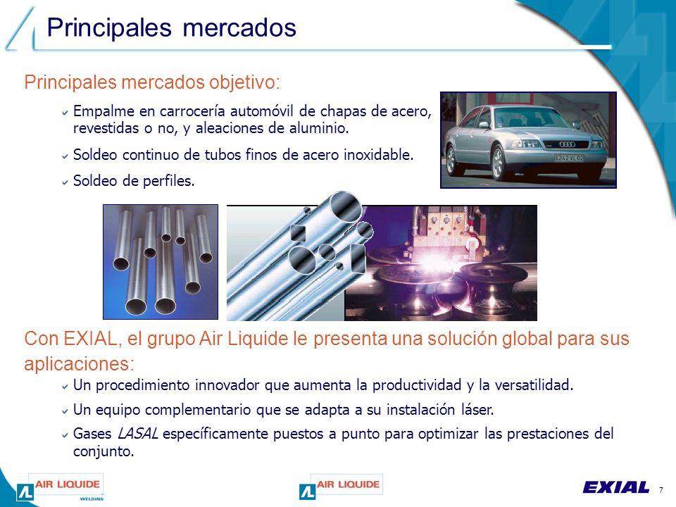 7 Principales mercados Principales mercados objetivo:  Empalme en carrocería automóvil de chapas de acero, revestidas o no, y aleaciones de aluminio.