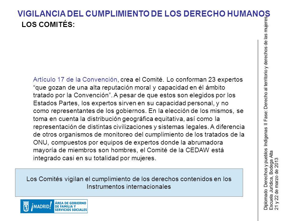 VIGILANCIA DEL CUMPLIMIENTO DE LOS DERECHO HUMANOS Artículo 17 de la Convención, crea el Comité.