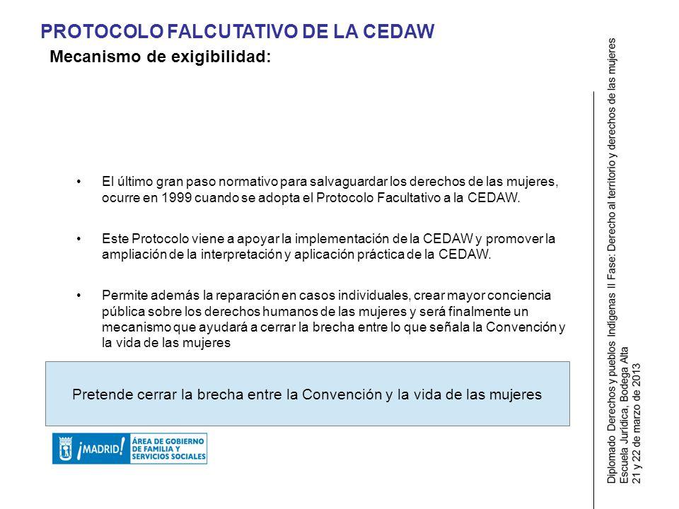 PROTOCOLO FALCUTATIVO DE LA CEDAW El último gran paso normativo para salvaguardar los derechos de las mujeres, ocurre en 1999 cuando se adopta el Protocolo Facultativo a la CEDAW.
