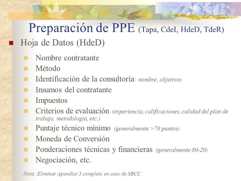 Preparación de PPE (Tapa, CdeI, HdeD, TdeR) Hoja de Datos (HdeD) Nombre contratante Método Identificación de la consultoría : nombre, objetivos Insumos del contratante Impuestos Criterios de evaluación (experiencia, calificaciones, calidad del plan de trabajo, metodología, etc.) Puntaje técnico mínimo (generalmente >70 puntos) Moneda de Conversión Ponderaciones técnicas y financieras (generalmente 80-20) Negociación, etc.