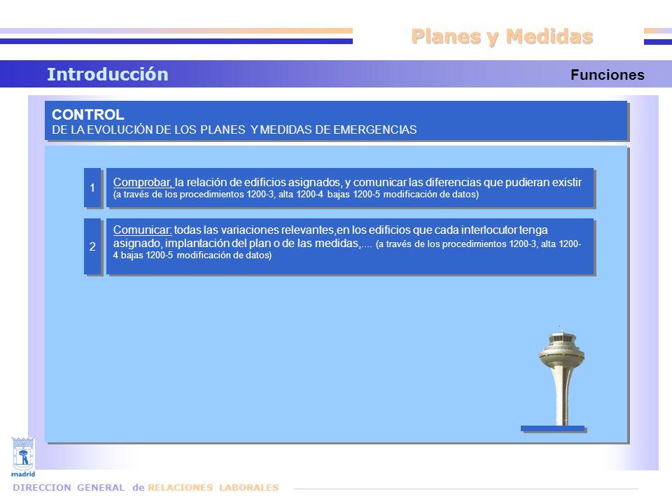 Planes y Medidas Introducción DIRECCION GENERAL de RELACIONES LABORALES Funciones CONTROL DE LA EVOLUCIÓN DE LOS PLANES Y MEDIDAS DE EMERGENCIAS CONTROL DE LA EVOLUCIÓN DE LOS PLANES Y MEDIDAS DE EMERGENCIAS Comprobar, la relación de edificios asignados, y comunicar las diferencias que pudieran existir (a través de los procedimientos 1200-3, alta 1200-4 bajas 1200-5 modificación de datos) Comunicar: todas las variaciones relevantes,en los edificios que cada interlocutor tenga asignado, implantación del plan o de las medidas,....