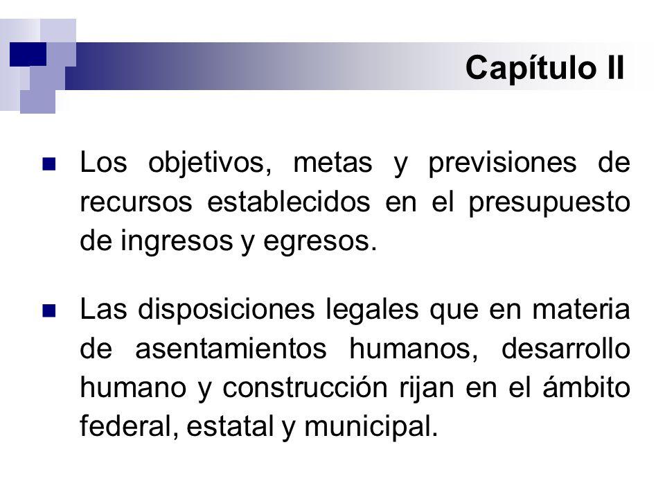 Capítulo II Las disposiciones legales que en materia de asentamientos humanos, desarrollo humano y construcción rijan en el ámbito federal, estatal y municipal.