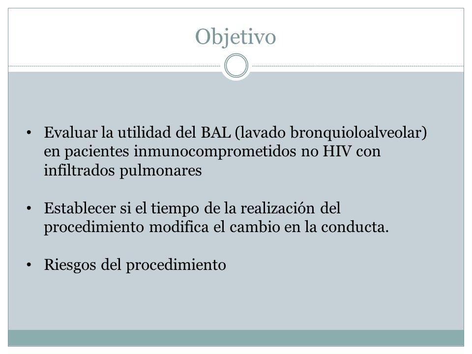 Objetivo Evaluar la utilidad del BAL (lavado bronquioloalveolar) en pacientes inmunocomprometidos no HIV con infiltrados pulmonares Establecer si el tiempo de la realización del procedimiento modifica el cambio en la conducta.