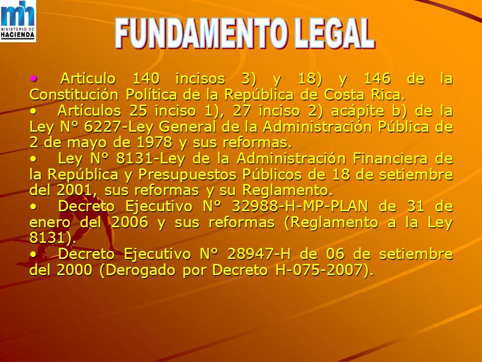 Artículo 140 incisos 3) y 18) y 146 de la Constitución Política de la República de Costa Rica.